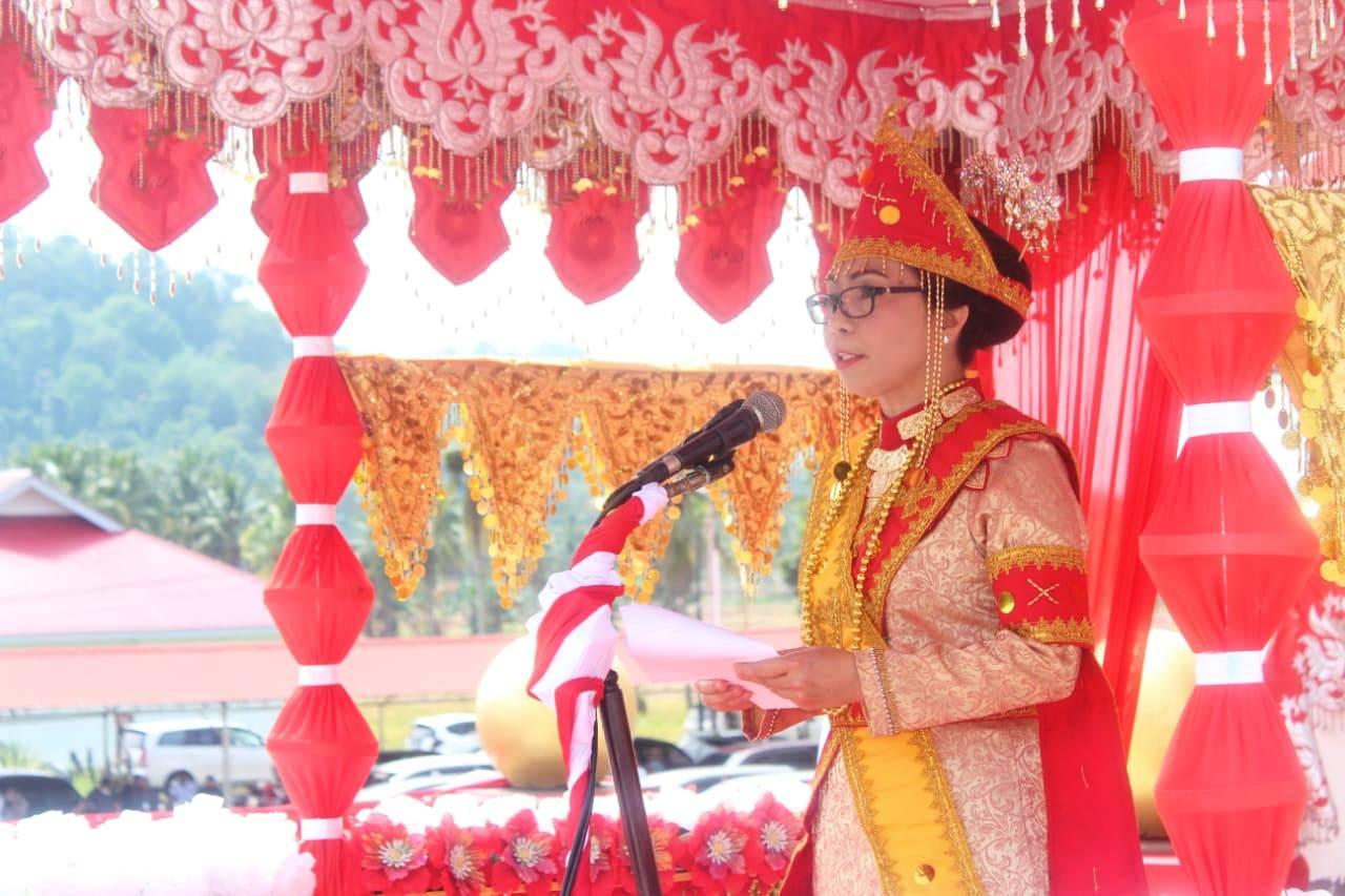 Bupati Bolmong menyampaikan sabutannya pada upacara peringatan HUT Bolmong ke 67