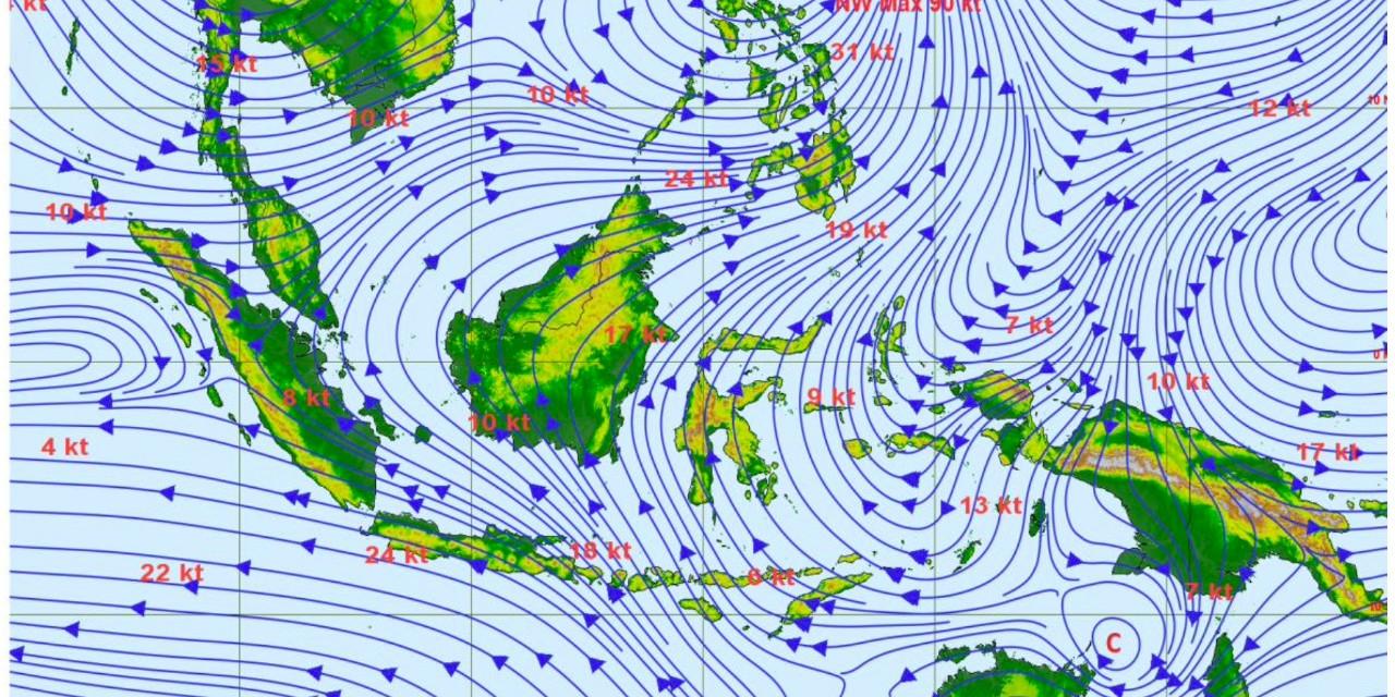 Prakiraan Angin Lapisan 3000 feet pada 21 April 2021.