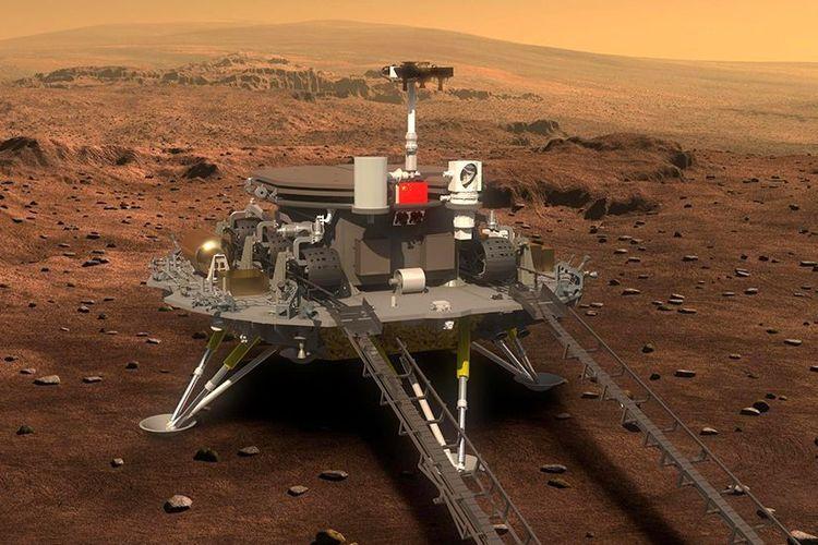 Inilah Zhurong, kendaraan penjelajah milik China yang berhasil mendarat di Mars.(CNSA via BBC)